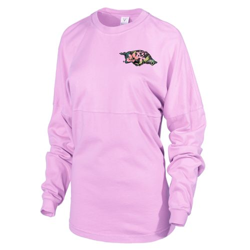 Venley Women's University of Arkansas Hawaiian Spirit Long Sleeve Football T-shirt - view number 2