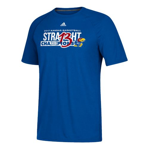 adidas Men's University of Kansas Big 12 Champs 13 Straight T-shirt