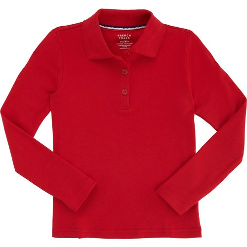 French Toast Toddler Girls' Long Sleeve Picot Collar Knit Polo Shirt