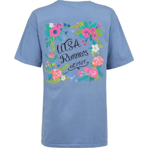 New World Graphics Women's University of Texas at San Antonio Comfort Color Circle Flowers T-shi