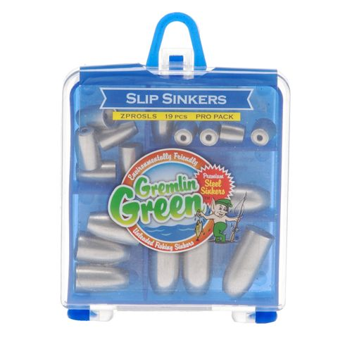 Image for Water Gremlin Green Premium Steel Low-Profile Slip Sinkers Pro Pack Assortment from Academy