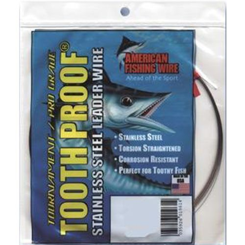 American Fishing Wire Tooth Proof 140 lbs - 30 ft Single-Strand Leader Wire