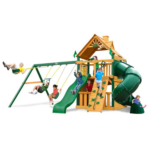 Gorilla Playsets™ Mountaineer Clubhouse Swing Set with Timber Shield™
