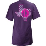 Three Squared Juniors' Texas Christian University Quatrefoil State Monogram T-shirt