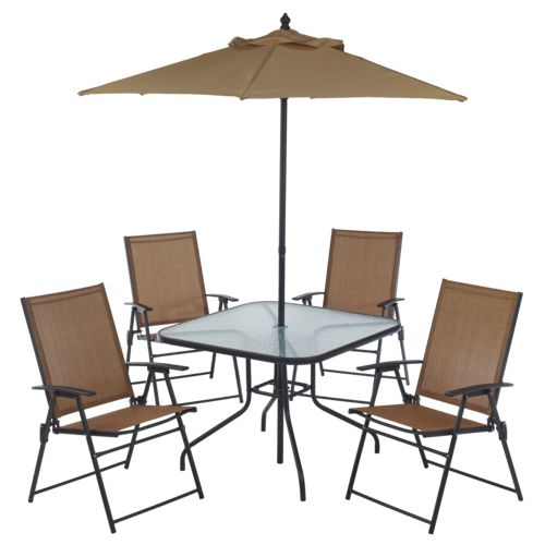 Mosaic 6 piece folding patio set academy for Jardin 8 piece dining set
