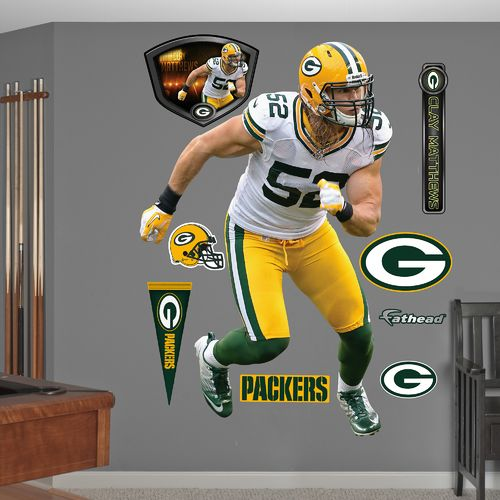 Fathead Green Bay Packers Clay Matthews Away Real Big Wall Decal
