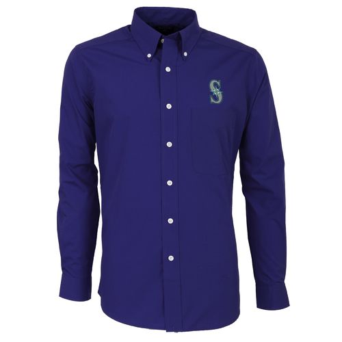 Antigua Men's Seattle Mariners Dynasty Long Sleeve Button Down Shirt