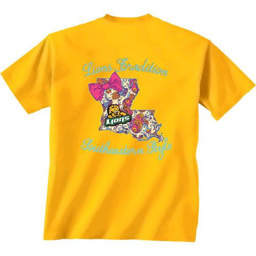 New World Graphics Women's Southeastern Louisiana University Bright Bow Short Sleeve T-shirt