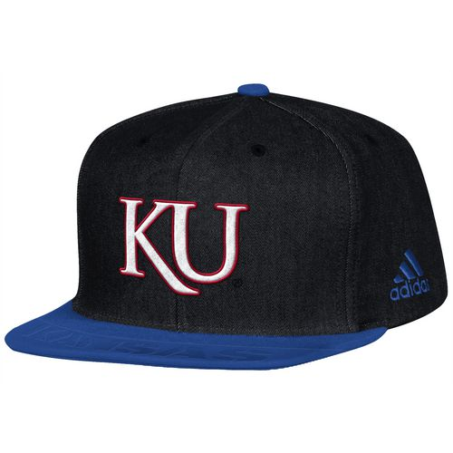 adidas Men's University of Kansas Sideline Player Flat Brim Snapback 2-Tone Cap