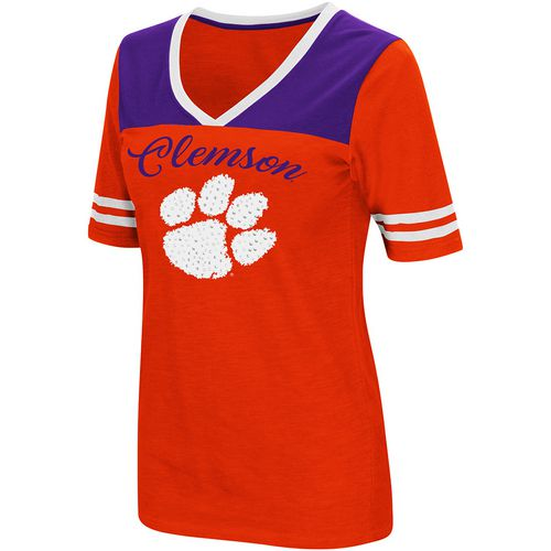 Colosseum Athletics Women's Clemson University Twist 2.1 V-Neck T-shirt