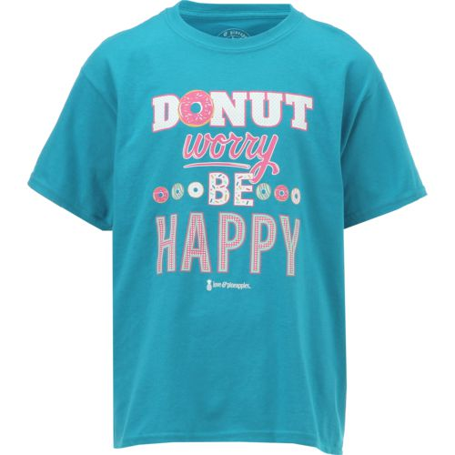 Love & Pineapples Girls' Donut Worry Be Happy Short Sleeve T-shirt - view number 1