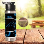 Great American Products Carolina Panthers 20 oz Double-Wall Stainless-Steel Water Bottle - view number 2