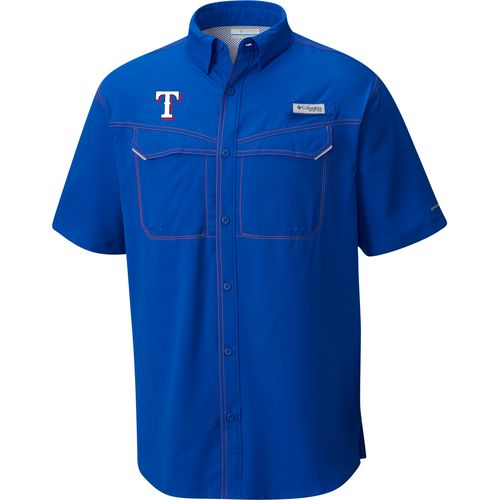Columbia Sportswear Men's Texas Rangers PFG Low Drag Button Down Shirt - view number 2