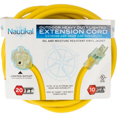 Nautikal Outdoor 20  Heavy Duty Lighted Extension Cord