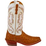 Nocona Boots Women's Antique Saddle Vintage Premium Full-Quill Ostrich Western Boots