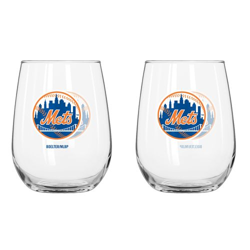 Boelter Brands New York Mets 16 oz. Curved Beverage Glasses 2-Pack
