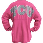 Three Squared Juniors' Texas Christian University Quatrafoil Sweeper Long Sleeve T-shirt