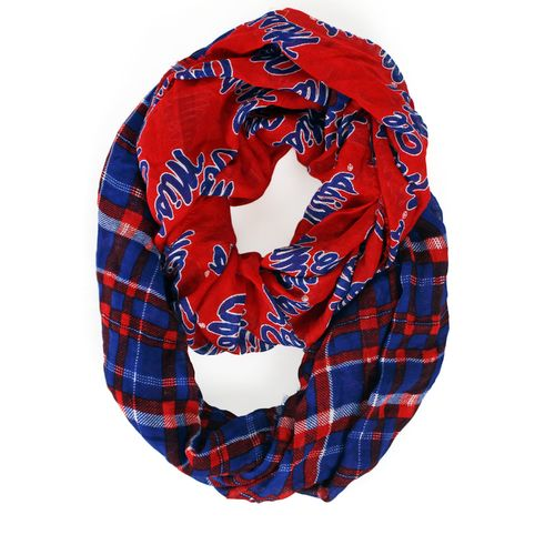 ZooZatz Women's University of Mississippi Tartan Infinity Scarf