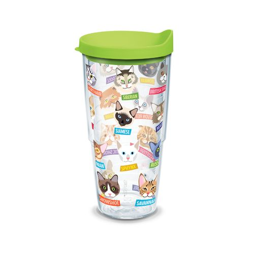 Tervis Flat Art Cat Breeds 24 oz. Tumbler with Lid