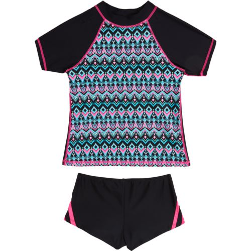 O'Rageous Kids Girls' Deco Diamond 2-Piece Rashguard Set