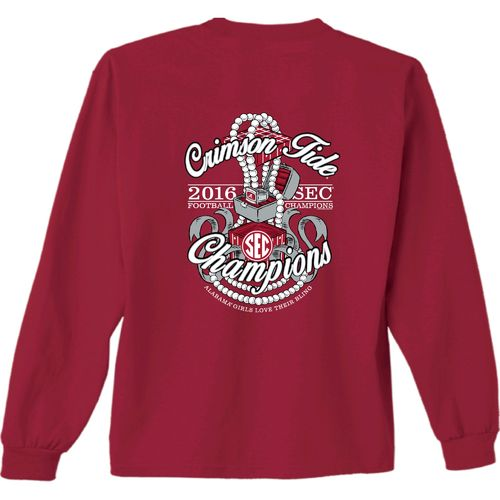 New World Graphics Women's University of Alabama 2016 SEC Champion Ring Box LS T-shirt