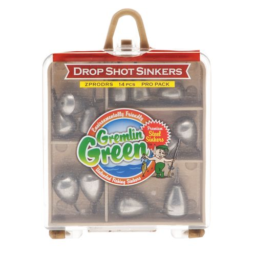 Water Gremlin Green Premium Steel Drop Shot Sinkers Pro Pack Assortment