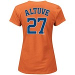 Majestic Women's Houston Astros José Altuve #27 Official Name and Number T-shirt