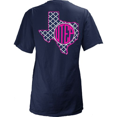 Three Squared Juniors' University of Texas at El Paso Quatrefoil State Monogram T-shirt
