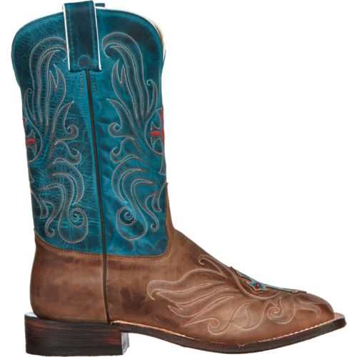 Tony Lama Women's Vintage Cow with Painted Cross San Saba Western Boots
