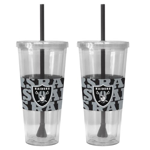 Boelter Brands Oakland Raiders Bold Neo Sleeve 22 oz. Straw Tumblers 2-Pack