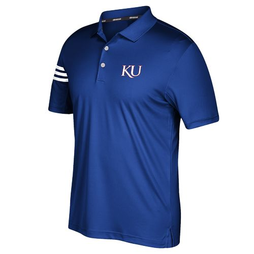 adidas™ Men's University of Kansas 3-Stripe Polo Shirt