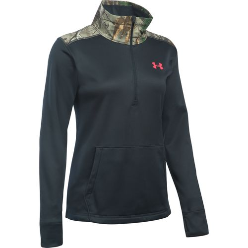 Under Armour Women's Icon Caliber Power in Pink 1/2 Zip Top
