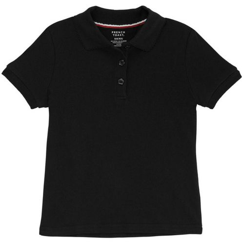 French Toast Girls' Plus Size Polo Shirt with Picot Collar