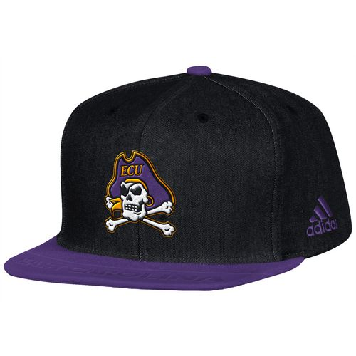 adidas Men's East Carolina University Sideline Player Flat Brim Snapback 2-Tone Cap