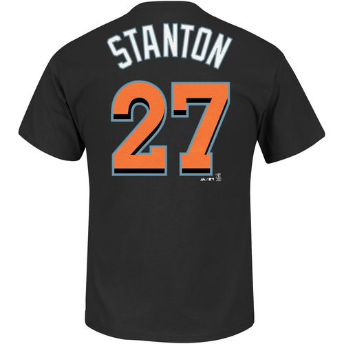 Majestic Men's Miami Marlins Giancarlo Stanton 27 Name and Number T-shirt