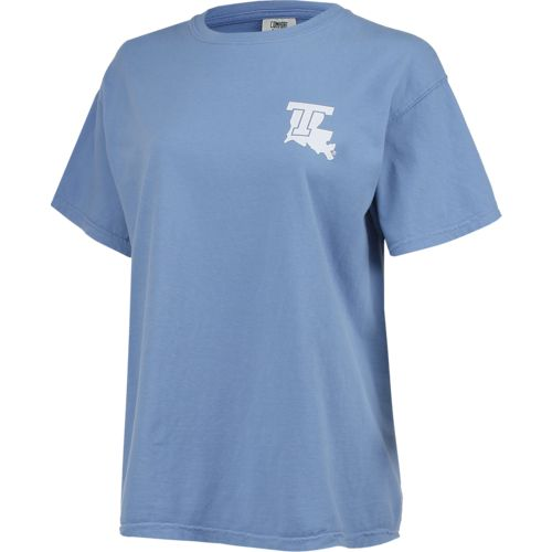 New World Graphics Women's Louisiana Tech University Comfort Color Circle Flowers T-shirt - view number 3