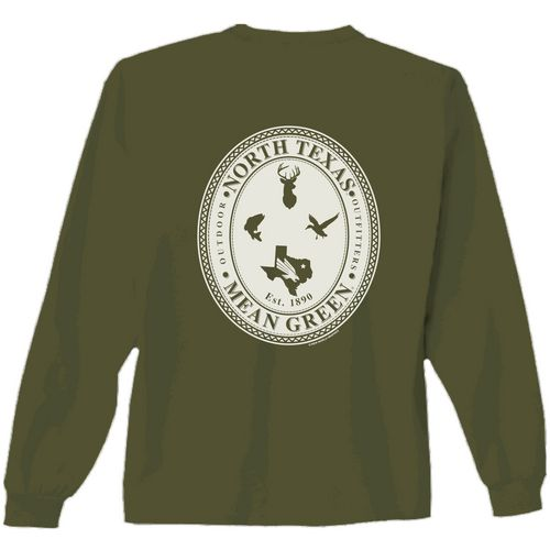New World Graphics Men's University of North Texas Crossed Oval Long Sleeve T-shirt