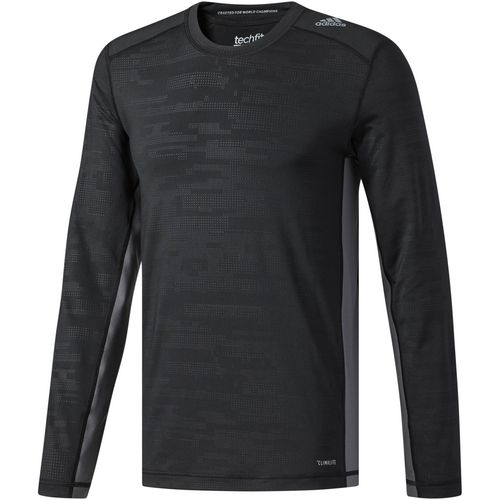 adidas Men's Techfit Long Sleeve Fitted Digi Camo T-shirt