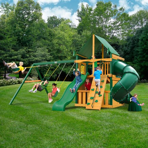 Gorilla Playsets™ Mountaineer Clubhouse Swing Set with Timber Shield™ and Deluxe Vinyl Can - view number 2
