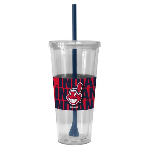 Boelter Brands Cleveland Indians Bold Neo Sleeve 22 oz. Straw Tumblers 2-Pack