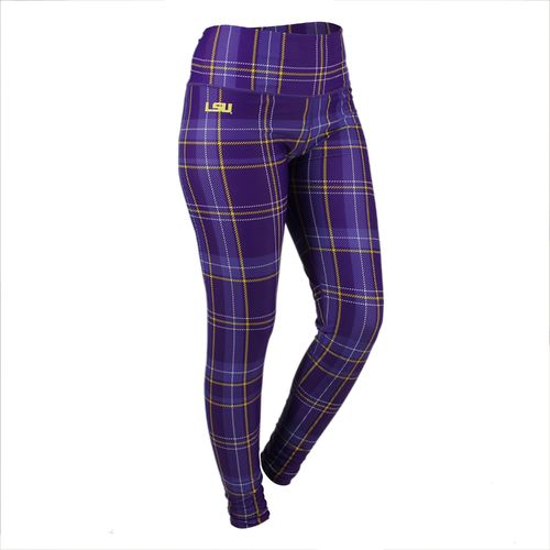 ZooZatz Women's Louisiana State University Tartan Plaid Legging