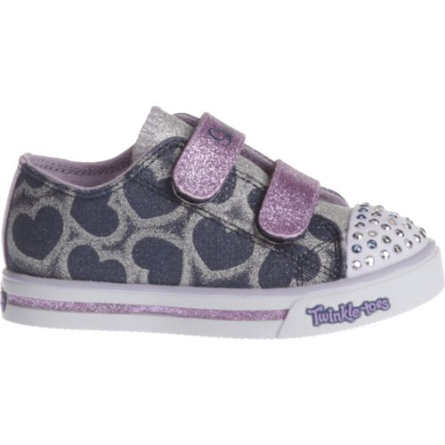 SKECHERS Toddler Girls' Twinkle Toes Shuffles Glitter Heart Shoes