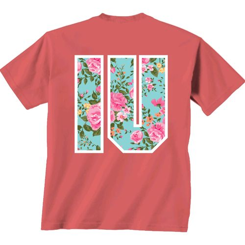 New World Graphics Women's Indiana University Floral CV T-shirt