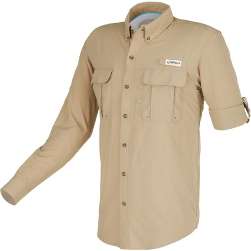 Magellan outdoors men 39 s laguna madre solid long sleeve for Mens fishing shirts