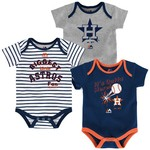 Majestic Infants' Houston Astros Home Run Onesies 3-Pack - view number 1