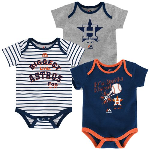 Majestic Infants' Houston Astros Home Run Onesies 3-Pack