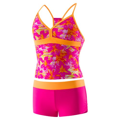 Speedo Girls' Jungle Floral Boyshort 2-Piece Swimsuit