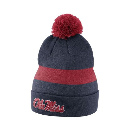 Nike™ Men's University of Mississippi Sideline Cuffed Pom Beanie