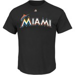 Majestic Men's Miami Marlins Giancarlo Stanton 27 Name and Number T-shirt - view number 2