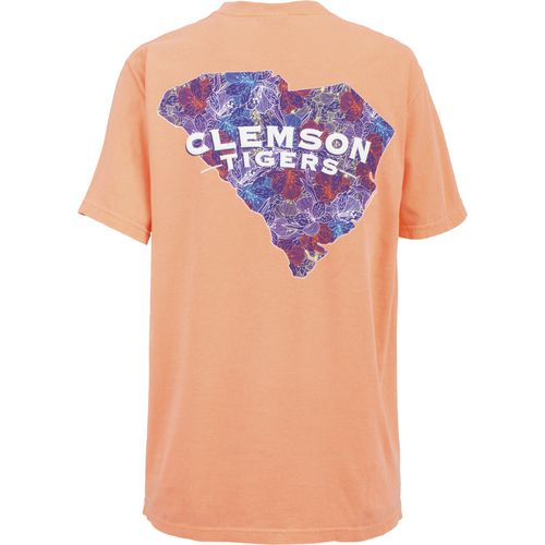 New World Graphics Women's Clemson University Comfort Color Puff Arch T-shirt